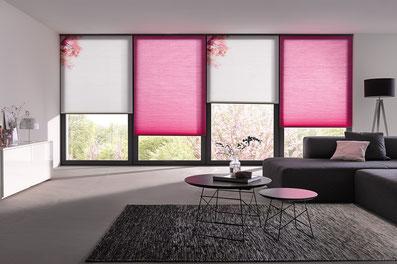 Wabenplissee pink, Wabenplissee Kirschblüte, gemusterte Plissees, Plissees in Hanau und Umgebung