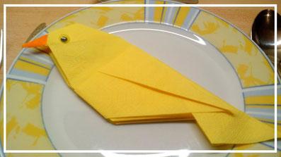 servietten falten Vogel
