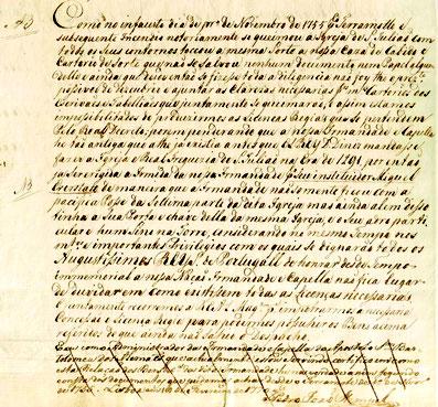 """Bericht der Brüderschaft über die Auswirkungen des 1. Novembers 1755 (1770) mit der Nennung des Gründers der Kapelle """"Miguel Everstatt""""."""