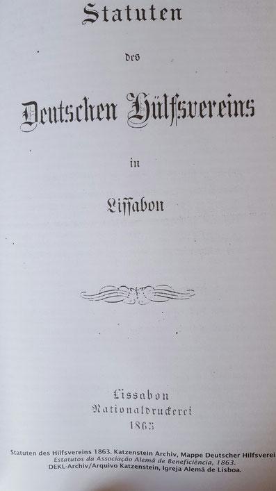 """Statuten des """"Deutschen Hilfsvereins in Lissabon"""" von 1863"""