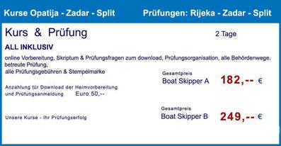 küstenpatent kuestenpatente boat skipper a und b coaching training kurs kroatien zadar prüfung Zadar