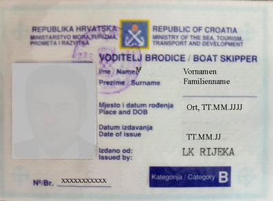kroatische küstenpatente höherrangige kommerziell gültige befähigungszeugnisse boat skipper c yachtmaster a b berufsausbildung skipper eigneryachten charteryachten