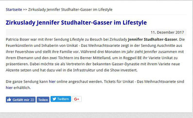 Bericht Zirkuslady Jennifer Gasser