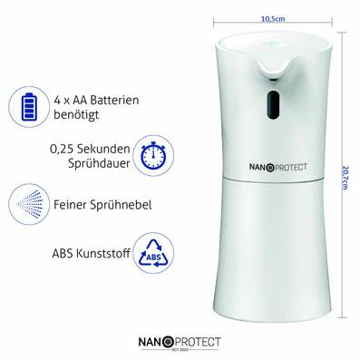 Nanoprotect Desinfektionsspender Desinfektionsmittelspender Automatisch Infrarot Sensor Seifenspender kontaktlos berührungslos