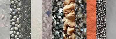 Strahlmittel, Strahlmedien, Strahlgut, Strahlsand, Sandstrahlmittel