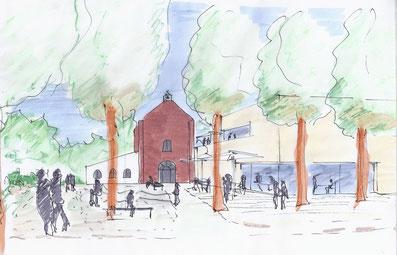 Skizze Architektin und Stadtplanerin Claudia Bosseler