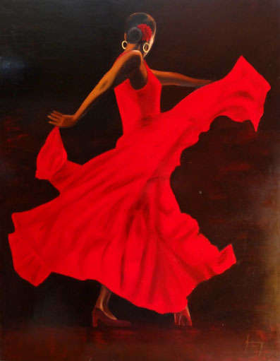 Danseuse de flamenco en robe rouge de dos