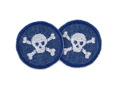 Bügelbild Totenkopf skull mini hellgrau, Jeansflicken für Kinder Erwachsene, Flicken zum aufbügeln