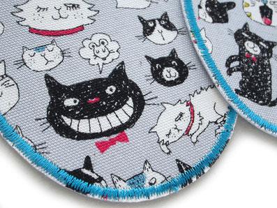 Bild: robuste Bügelflicken für Kinder mit Hunden und Katzen, nachhaltig mit Flicken Hosen reparieren