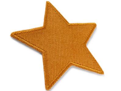 Bild: Cordflicken Stern senffarben, Flicken für Cordhosen, Bügelflicken Cord senfgelb