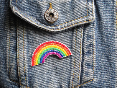Bild: Regenbogen Bügelbild Applikation Rainbow patch Aufbügler