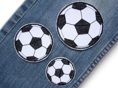 Bild: Fußball Flicken für Jeanshosen, Hosenflicken zum aufbügeln mit Fussball