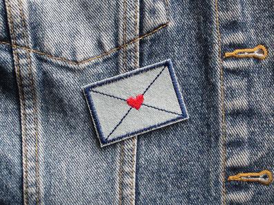 Bild: Letter Liebesbrief Bügelbild Applikation Brief patch Aufbügler