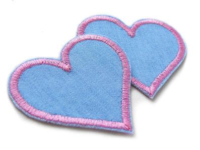 Bild: rosa Herz Bügelbilder, Jeansflicken Herz zum aufbügeln im Set