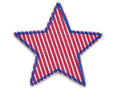 !B: Stern Bügelflicken aus Jeansstoff, rot weiß gestreift mit blauer Garnumrandung