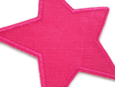 !B: pinker Stern aus Cordstoff als Hosenflicken zum aufbügeln