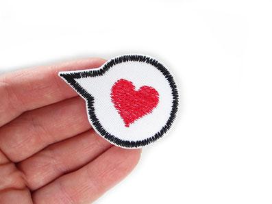 Bild: Herz Bügelbild, Patch Liebe rotes Herz Applikation zum aufbügeln