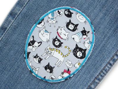 Bild: ovale Hosenflicken für Kinder zum aufbügeln mit lustigen Tiermotiven