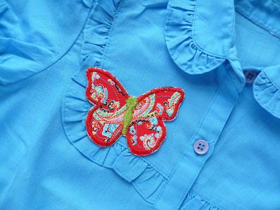 Bild: Schmetterling Bügelflicken, Bügelbild bunte Blumen
