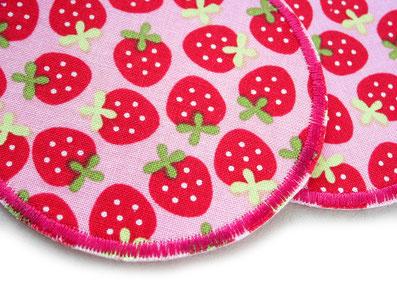 Bild: Erdbeere Applikation Aufnäher Hosenflicken zum aufbügeln Accessoire für Kinder rosa und rot