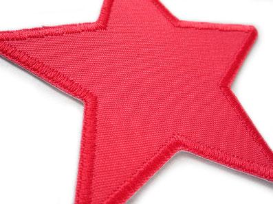 Bild: robuste Hosenflicken aus Canvas, Stern rot Bügelbild, Flicken zum aufbügeln, nachhaltig Hosen reparieren