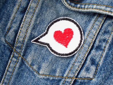 Bild: Herz Sprechblase Bügelbild, Liebe sagen Aufbügler, Bügelflicken