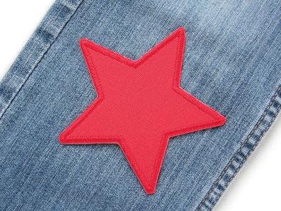 Bild: Canvas Stern Flicken zum aufbügeln, roter Stern Bügelflicken, Hosenflicken für Kinder