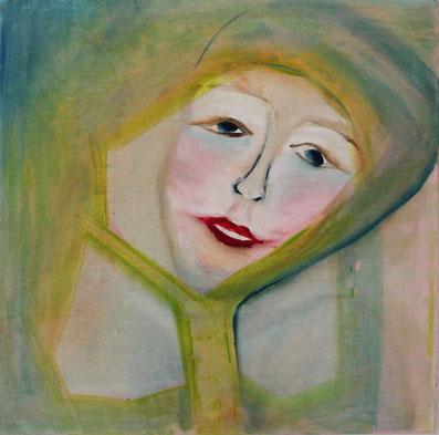 Nr. 2012-HO-009: 70 x 70 Acryl, Ölfarbe auf eigener Leinwand,   Mädchengesicht