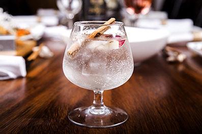 Magnifica fotografía de alimentos, copa de gin.