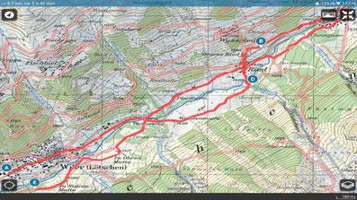 Karte Lötschentaler Talweg
