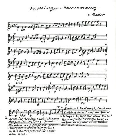 Die Originalnoten des Frittlinger Narrenmarsches