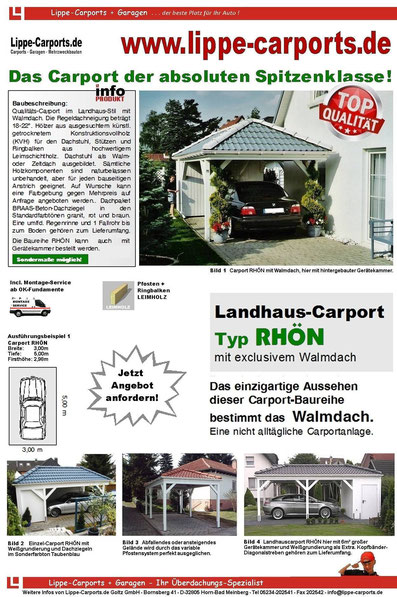 RHÖN Walmdachcarport-Zeltdach-Carport
