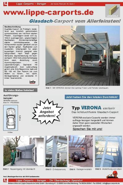 Glasdach-Carport VERONA exclusiv