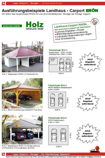 Landhaus Carport Modell RHÖN von Lippe-Carports