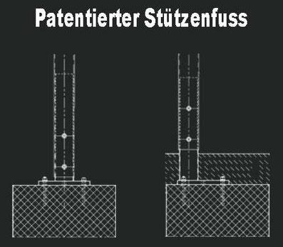 Patentierte Carport Stützenfuss
