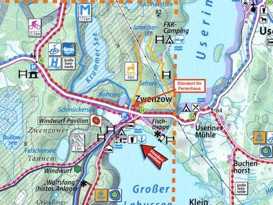 Zwenzow Karte Wandern Mecklenburger Seenplatte Urlaub