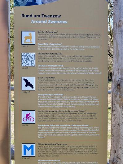 Zwenzow Wandern Müritz-Nationalpark Wanderwege