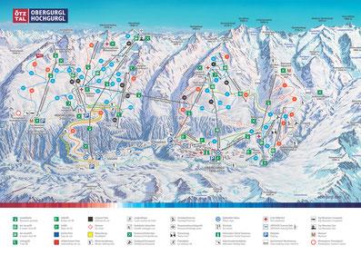 © Bergbahnen Obergurgl-Hochgurgl; Ötztal, Obergurgl-Hochgurgl, Pistenpanorama, Panoramakarte, Winter, Pistenplan, Skikarte, Pistenpanorama