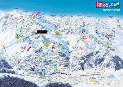 © Bergbahnen Sölden; Photograf: Prof. Stummvoll; Ötztal, Sölden, Winterpanorama, Bergbahnen Sölden, BBS, Winter, Skigebietsplan, Pistenplan, Skigebietspanorama