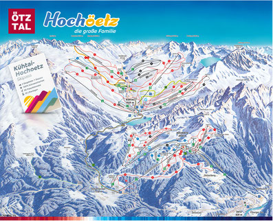 © Bergbahnen Oetz; Pistenpanorama, Winter, Panoramakarte, Oetz, Kühtai, Pistenplan, Skikarte, Pistenpanorama