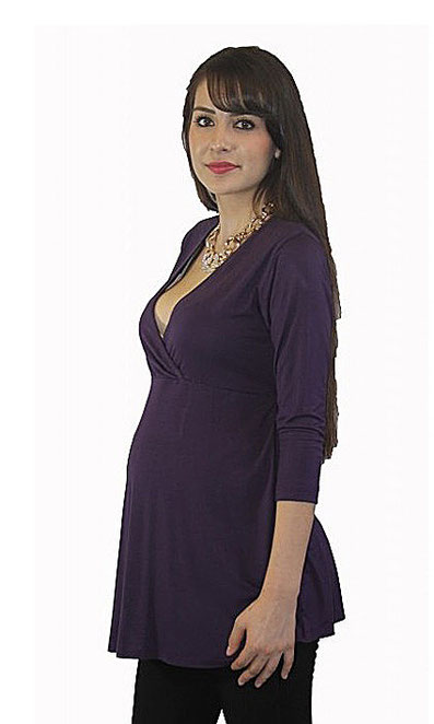 long sleeve maternity top purple