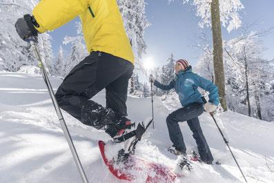 Ein Pärchen beim Aufstieg mit Schneeschuhen in tiefem Schnee