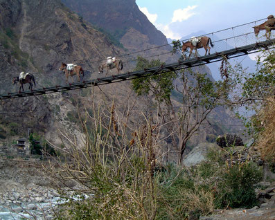 Hängebrücke im Kali Gandaki Tal; Foto: © Klaus Hessenauer