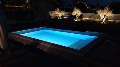 éclairage piscine débordement