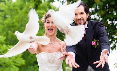 Tauben steigen lassen - Fotos Hochzeit Rietberg