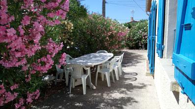 Grande table pour 8 personnes + 8 fauteuils + 2 bains de soleil