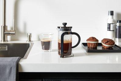 Kaffeebereiter, Frenchpress, doppelwandiges Kaffeeglas