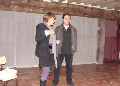 Véronique Briant et Claude carré, l'auteur de la pièce