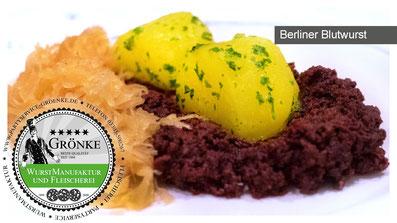 Berliner Blutwurst mit Rosenkohl und gebräunter Butter, Kartoffelpüree und frischem Schnittlauch