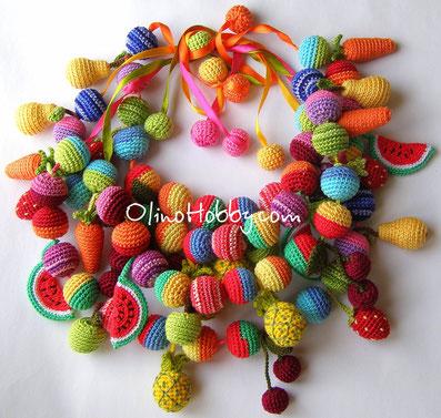 слингобусы, вязаные бусы, слингобусы с фруктами, кормительные бусы